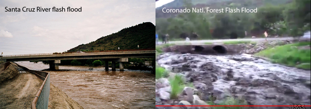 Flash Flood in Santa Cruz River and in stream on Coronado National Forest