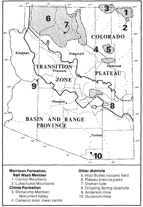 Major uranium deposits in Arizona