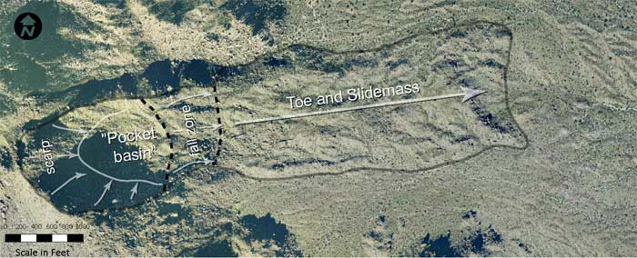 Figure 2. Annotated birdseye view of the Marcus Landslide.