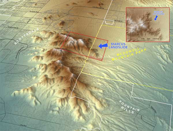 Figure 1. Digital elevation location map (DEM) of McDowell Mountains and geography.