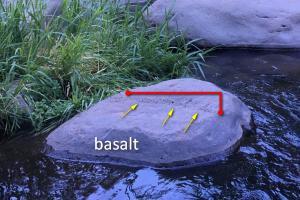 Basalt boulder at Indian Gardens, Oak Creek, Arizona