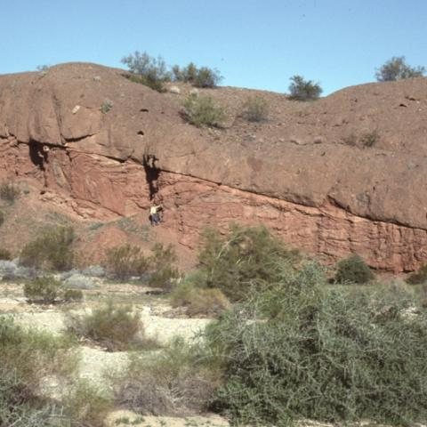 Conglomerate faulted over sandstone, Buckskin Mountains, Arizona