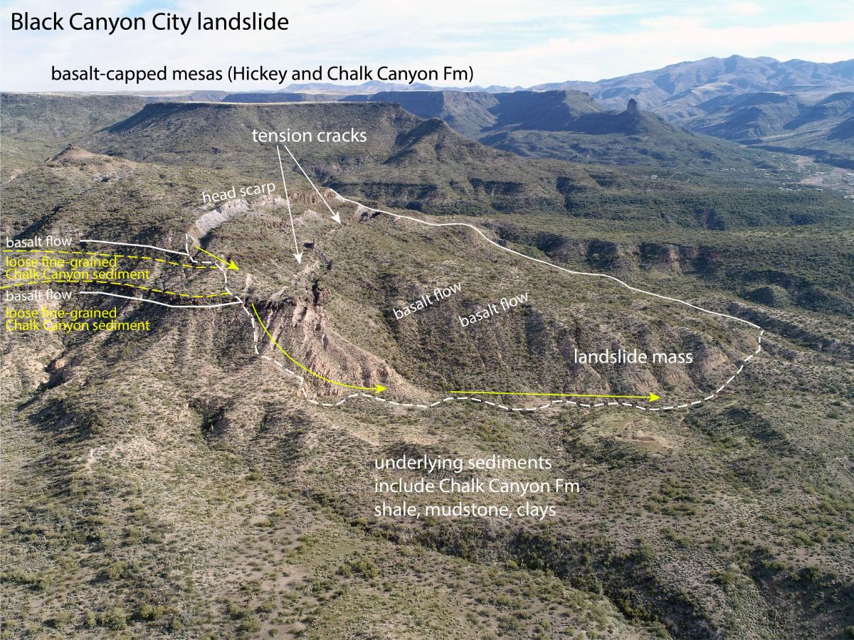 Landslide near Black Canyon City