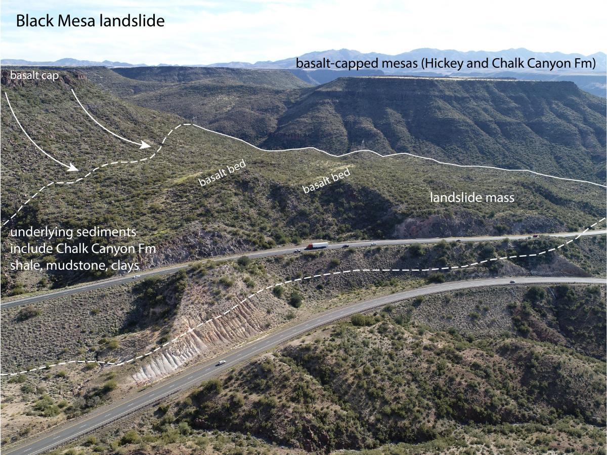Black Mesa landslide at I-17