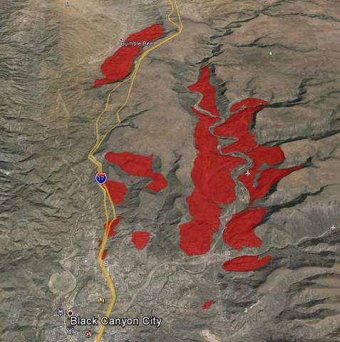 Quaternary landslides (red) near I-17 in central AZ (AzSLID).