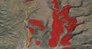 Quaternary landslides (red) near I-17 in central AZ (AzSLID).