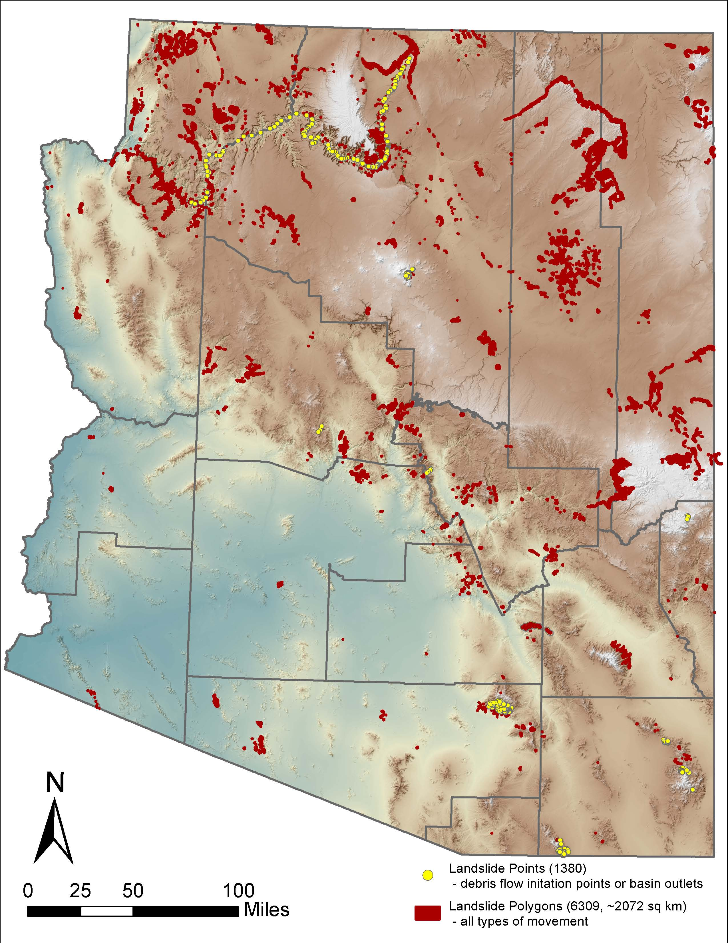 AzSLID - Map representation of landslide features distributed thoughout Arizona