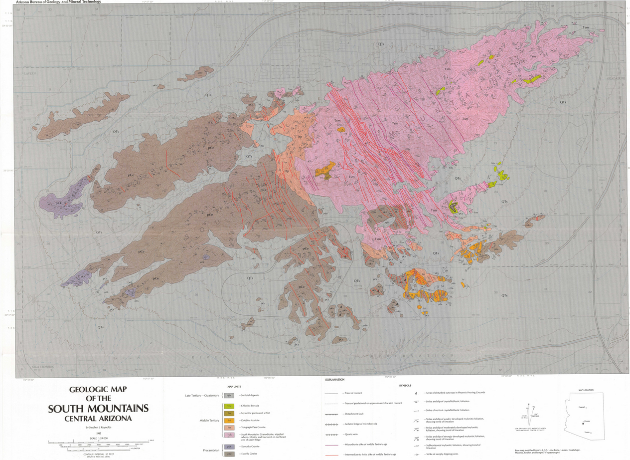 Map Of Central Arizona.Geologic Map Of South Mountains Central Arizona Azgs