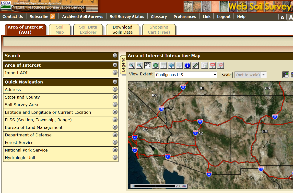 USDA's Natural Resource Conservation Service Web Soil Survey tool