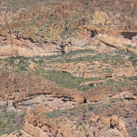 Pyroclastic Tuffs and rhyolitic lavas of Fish Creek Canyon, Superstition Mountains